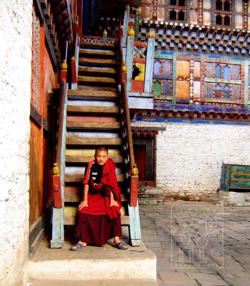 Hand tinted photograph Monk on stairway  Bhutan