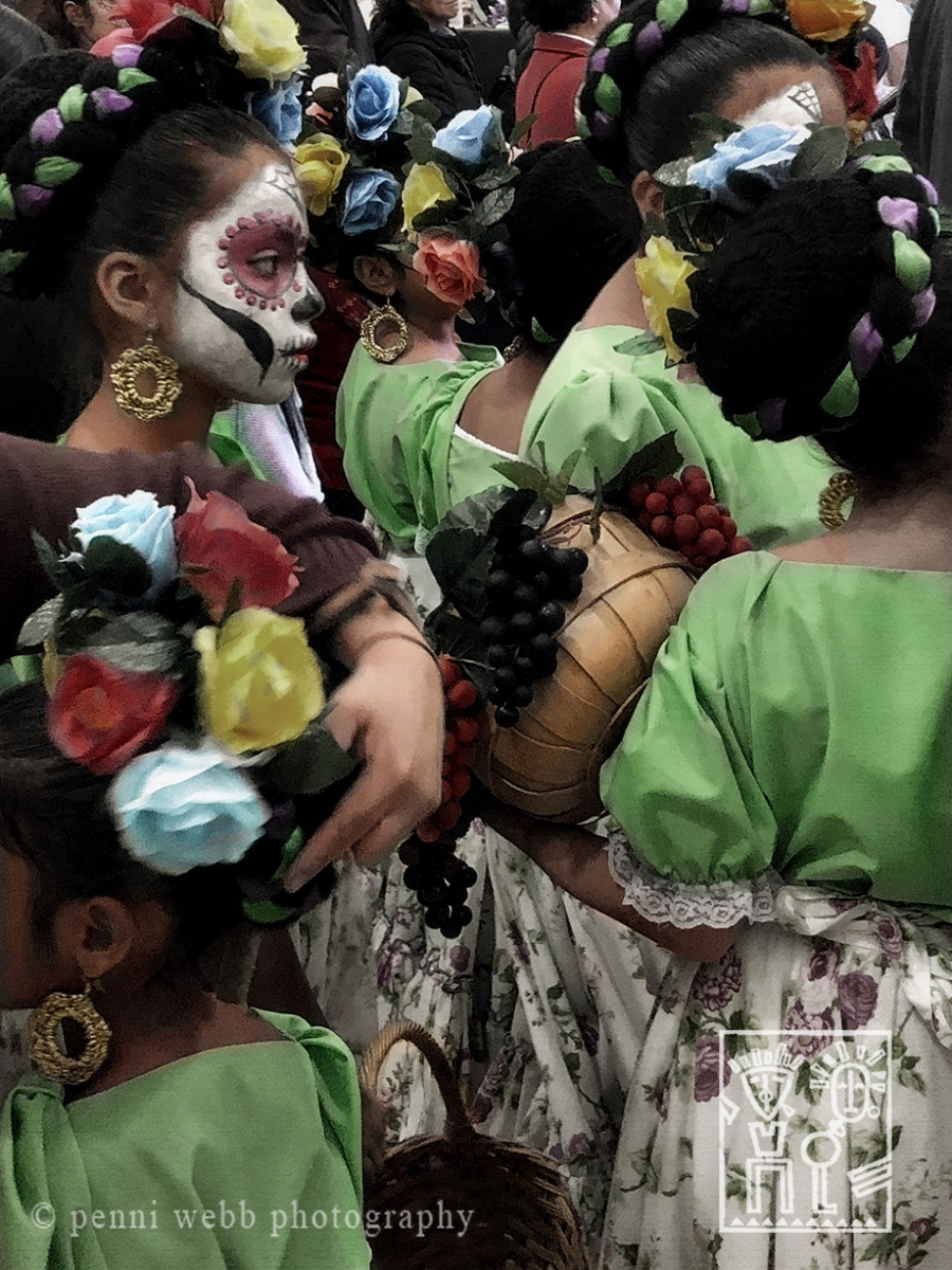Hand tint photograph Girls preparing to dance  California