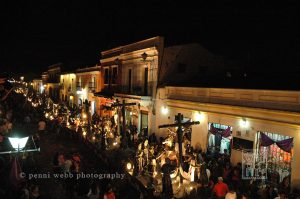 Procession at night.