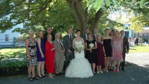 The family with the happy Bride and Groom, marriage in Rhode Island.
