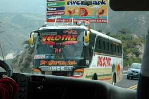 Bus passing us in Ecuador.