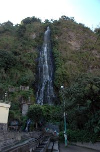 Waterfall in the town of Banos