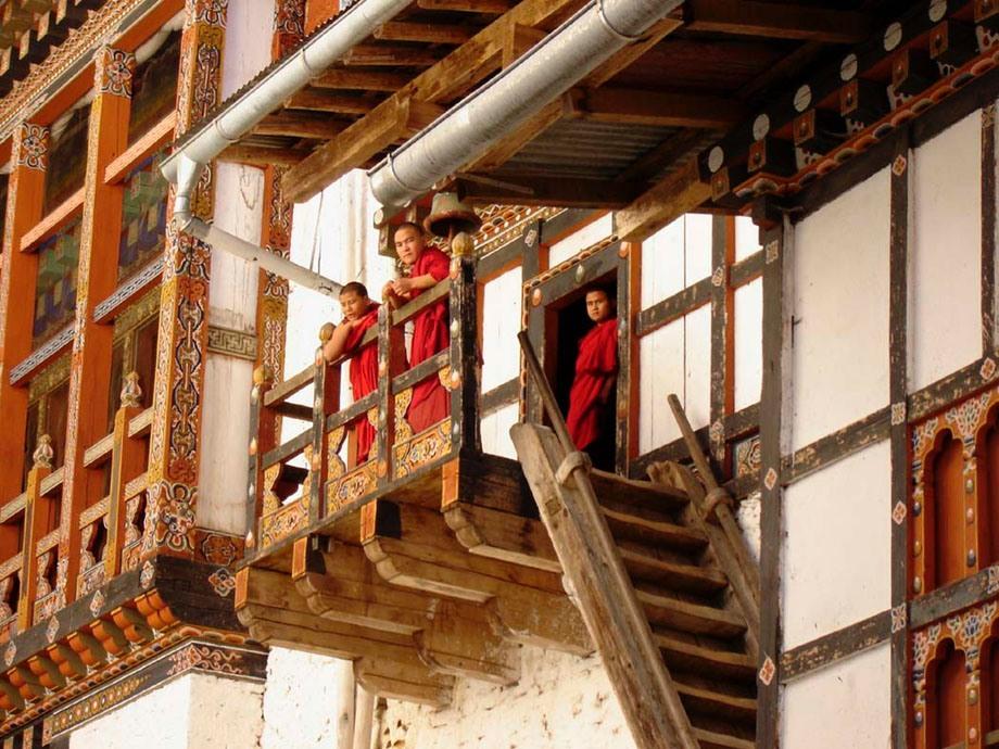 Monks on stairway