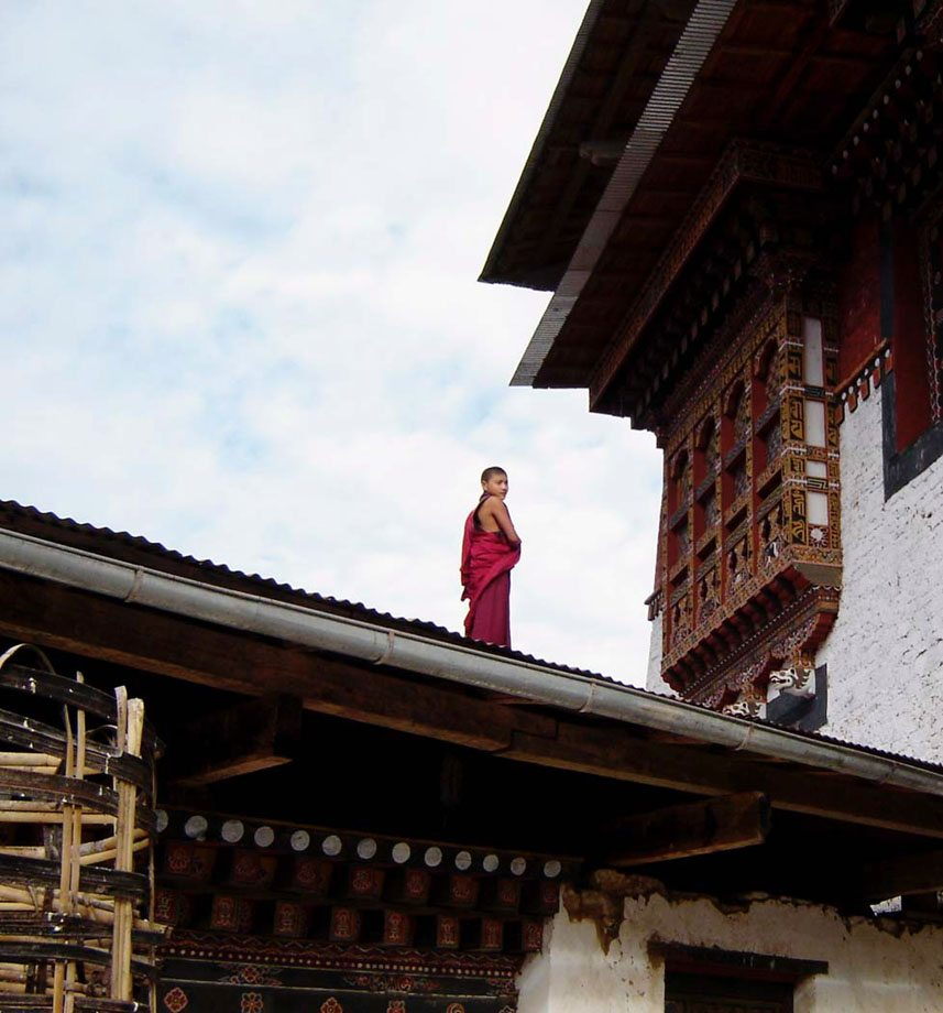 Monk on roof