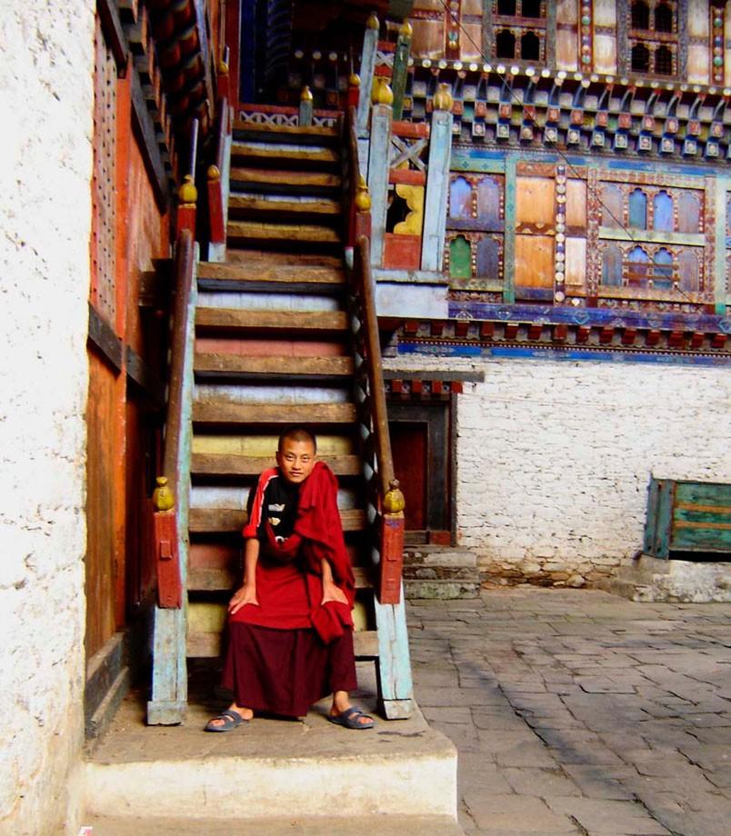 Monk on stairway