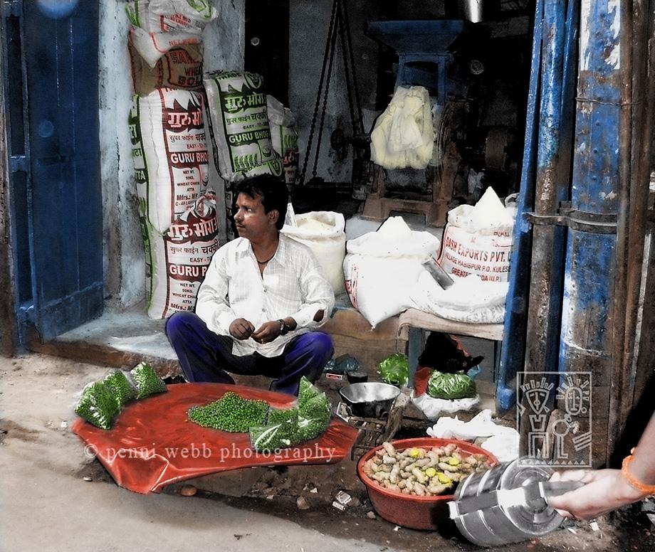 Merchant w/ peas