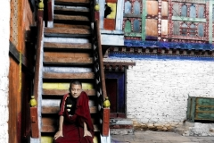 Monk on stairs