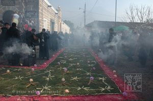 Flower carpets are place all over the town on the streets.