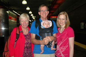 My brother Bob, Lone and niece Ellen with Marlow, her 3 month old baby girl.